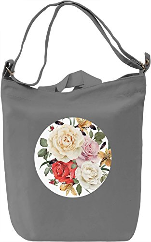 White Flowers Borsa Giornaliera Canvas Canvas Day Bag| 100% Premium Cotton Canvas| DTG Printing|
