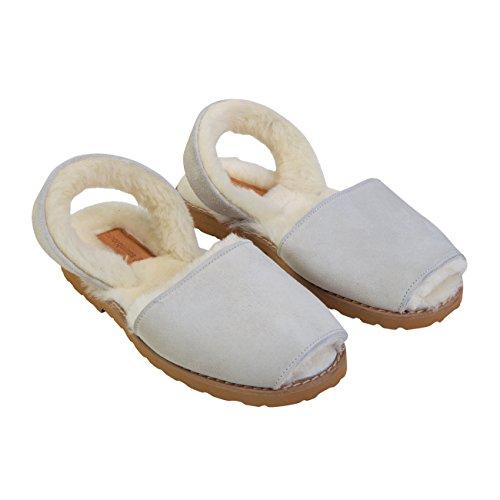 Minorquines - Sandales Avarca Mouton Blanc Cassé - Femme