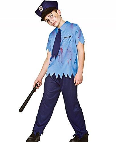 Kids Boys Zombie Cop Uniform Fancy Dress Halloween (Zombie Cop Halloween)