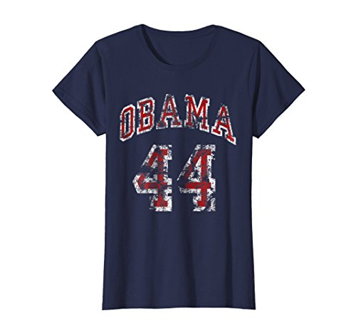 Womens 44th President Barack Obama T-Shirt Small Navy