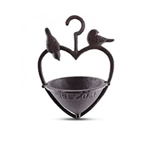 Insideretail 100115-6 Bird Feeder -High Quality Iron Hanging Heart with 2 birds (Set of 6), Black