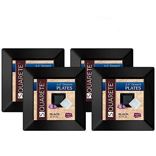 Squarete 6.5'' inch Black Dessert Plates party Plates Heavy Duty Plastic Elegant Disposable 10 Dessert Plates Per Package Pack Of 4