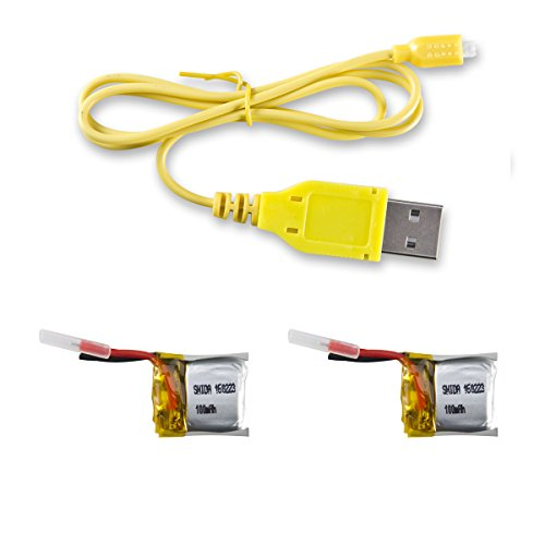 Price comparison product image CX-10 Spare Part 2pcs 3.7v 100mAh Batteries and 1 USB Charger Cable for Cheerson CX-10 Rc Quadcopter