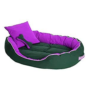 PETSHUB Ultra Soft Reversible Elite Dog/Cat Bed with 2 Extra Pillows (Purple and Black, Small)
