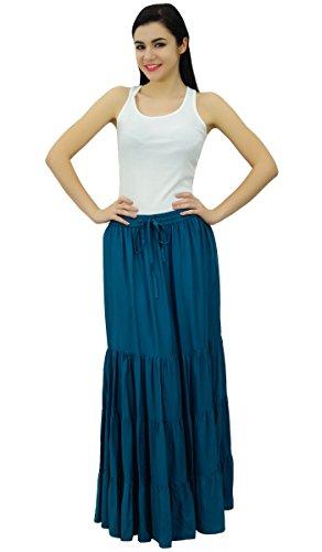 Bimba Bleu Sarcelle lastique de Flaired boho rayonne longue maxi jupe femmes jupes bohmes Pw7BPqrZ