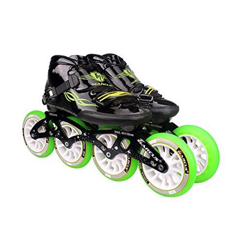 原点失望以来ailj ローラースケート4輪90MM-110MM車輪調整可能なインラインスケート、ストレートスケートシューズ(4色) (色 : 黒, サイズ さいず : EU 46/US 13/UK 12/JP 28cm)