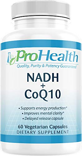 ProHealth NADH + CoQ10 | 60 Day Supply | Pure NADH 25 mg, CoQ10 100 mg | 60 Acid Resistant Capsules | Energy | Focus | ATP Production