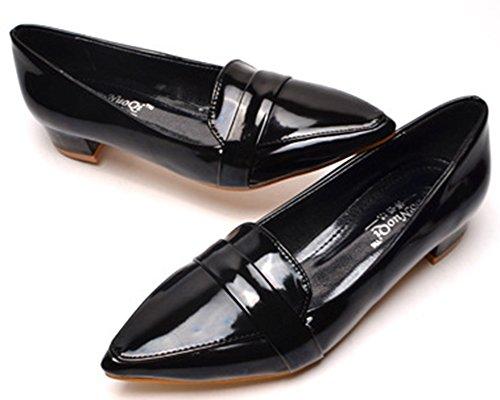 Idifu Womens Dressy Chiuso Scarpe A Punta Bassa Slip Slip On Low Chunky Pumps Shoes Black