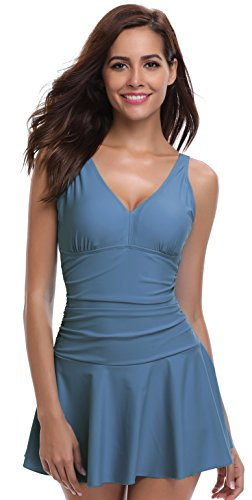 SHEKINI Women's One Piece Skirt Swimsuit Ruched Retro Swimdress Bathing Suit (Medium, Light Blue) ()