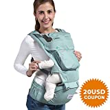 Baby Carrier Backpack with Hip Seat, UUMU 12 in 1 Comfortable & Safe Positions for Infant/Toddlers, 45.3'' Maximum Ergonomic Adjustable Waistband with Pocket, Perfect for Hiking, Shopping, Travelling