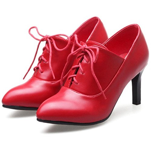 red RAZAMAZA Cheville Janes Aiguille Chaussures A Courte Mary Bottines Lactes Femmes 67H6Zv