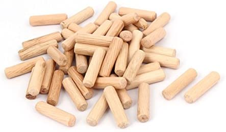 uxcell Cabinet Drawer Round Fluted Wood Wooden Craft Dowel Pins 6mm x 30mm 200 Pcs