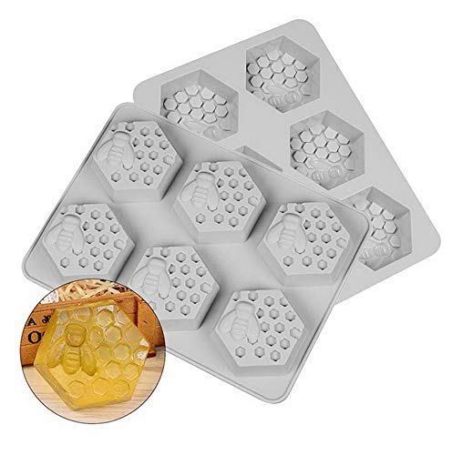 (Mikash Bee Honeycomb Silicone Molds for Soap Making 6 Cavity Cake Candle Muffins Jelly Ice Tube Tray Baking Mold for Wedding Christmas Tion Set of 2 | 2×Honeycomb Shape Mold | Model WDDNG - 687)