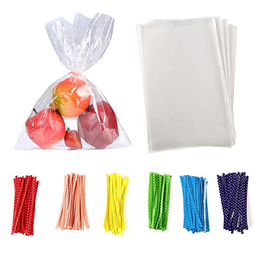 200 Pcs 9 in x 12 in Clear Flat Cello Cellophane Treat Bags Good for Bakery,Popcorn,Cookies, Candies,Dessert 1.4mil.Give Metallic Twist Ties! (9