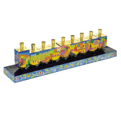 Yair Emanuel Multicolor Menorah of Dreidels with a Scene of Jerusalem in Wood by World Of Judaica