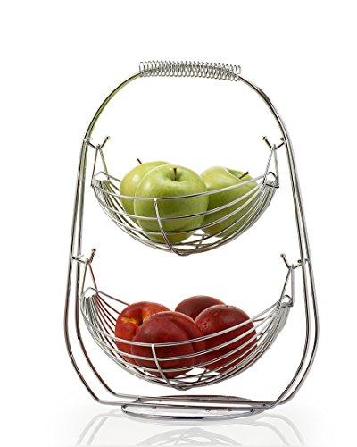Saganizer 2 Tier Fruit Baskets fruit basket Bowl Stainless Steel Corner