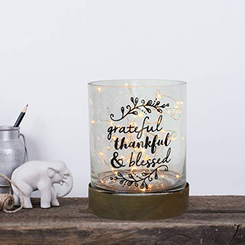 Stonebriar Hurricane Small Sentiment Pillar Candle Holder with Metal Base Cylinder, Frosted Glass