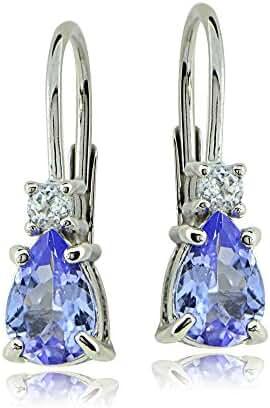 Sterling Silver Tanzanite & White Topaz Teardrop Leverback Earrings