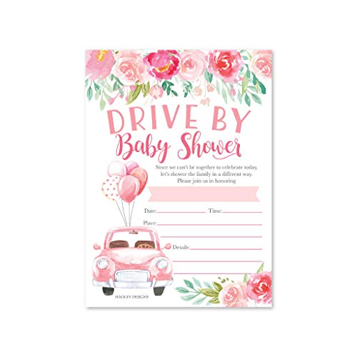 25 Pink Floral Drive by Baby Shower Invitations, Use for the Couples Gender Reveal Party or Sprinkle Car Parade, Co-ed Girl or Twins Invite Cards, Vintage Boho Greenery Theme, Fill In & Send By Mail