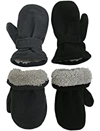 Little Kids and Baby Easy-On Sherpa Lined Fleece Mittens - 2 Pair Pack