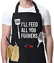 I'll Feed All You - Funny Aprons for Men, Women with 3 Pockets - Fathers Day Gifts, Dad Gifts, Gifts for M