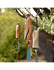 Beautiful Rustic Dragonfly Wind Chimes - Best Handmade Wind Chime - Boho Handmade Garden Decor Gift, Bird Dragonfly Wind Chime Colorful Handmade of Ceramics (Red)