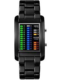 Men's Creative Binary Matrix Blue LED Digital Waterproof Watch Stainless Steel Military Black Watches (Black)