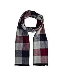Wobe Men Scarf Silky Warm - Cotton Scarves for Fall & Winter 72 by 12 inch Men Winter Scarf Stylish Shawl Fashion Scarves Soft Long Scarf (White+Red+Grey,Plaid)