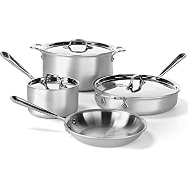 All-Clad 700393 MC2 Professional Master Chef 2 Stainless Steel Bi-Ply Bonded Oven Safe PFOA Free Cookware Set, 7-Piece, Silver