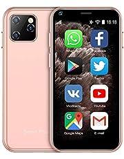 SOYES XS11 3G Mini Smartphone 2.5 Inch WiFi GPS RAM 1GB ROM 8GB Quad Core Android 6.0 Cell Phones 3D Glass Slim Body Camera Dual Sim Google Play Cute Smartphone (Pink)