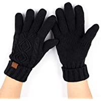 C.C Exclusives Unisex Knit Thick Warm Fuzzy Lined Solid Ribbed Glove with Smart Tips (G-25)