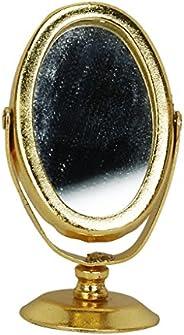 Metal Dressing Table Mirror Gold Tone 1/12 Dollhouse Miniature