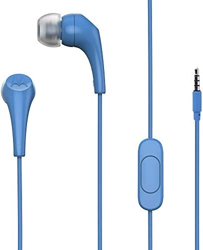 Motorola Earbuds 2 in-Ear Headphones - Noise Isolation, 10mm Audio Drivers, in-Line Microphone - Compatible with Smart Voice Assistants, Lightweight Design, Secure Ear Hook Style - 2 Extra Earbuds