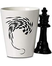 Froster Schaakmok met schaakstuk handvat, cadeau voor schaakspelers, Brainy mensen, 400ml, geschenkdoos (koning)
