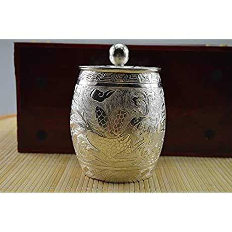 225 Gram Purity 999 Sterling Solid Silver Hand Made Dragon Phoenix Pot Hallmark
