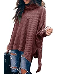 Women Turtlenck Batwing Sleeve High Low Hem Side Slit Waffle Knit Casual Loose Oversized Pullover Sweater Tunic Tops
