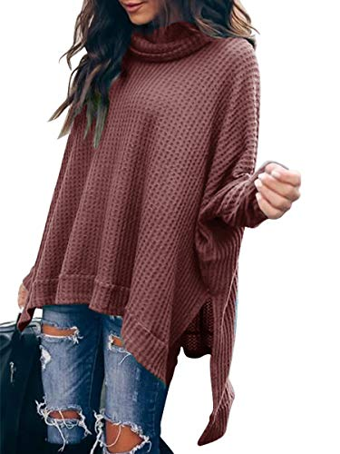 Cowl Neck Batwing Sleeve High Low Side Slit Waffle Knit Casual Loose Oversized Rust Sweater for Women CYJ19-C8A3-xiuhong-S