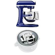 KitchenAid KP26M1XBU Professional 600 Series 6-Quart Bowl-Lift Stand Mixer, Cobalt Blue + KitchenAid KICA0WH Ice Cream Maker Attachment Bundle