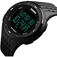 Men's Sports Watch Military 50M Waterproof Digital LED Large Face Wrist Watch with Black Silicone Strap Simple Army Watch