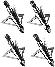DEEPOWER Archery Arrow Broadhead 100 Grain Fixed 3 Blade 1+1/4 Inch Cut Diameter 4-Pack Carbon Steel Ferrule