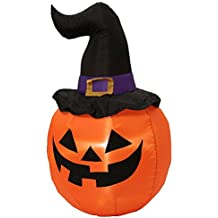 Halloween Inflatable LED Pumpkin with Witch Hat 5 ft
