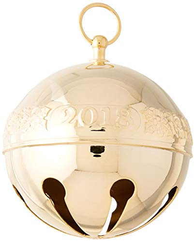 Wallace 2018 Sleigh Bell Gold-Plated Christmas Holiday Ornament, 29th - Gold Wallace Accent