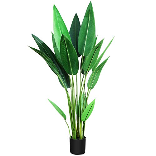CROSOFMI Artificial Bird of Paradise Plant 43.09 Inches Fake Strelitzia with 18 Leaves Faux Strelitzia Nicolai in Pot for Indoor Outdoor House Home Office Modern Decoration Perfect Housewarming Gift_9