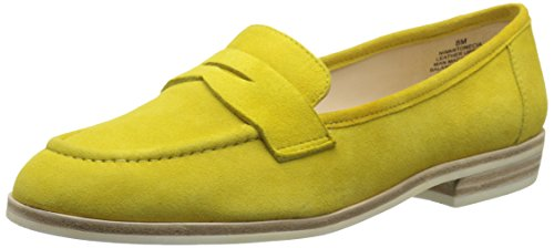 Nine West Women's Antonecia Suede Slip-On Loafer, Yellow Suede,