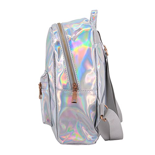 Bag Backpack Shoulder Hologram Women Bag Shiny Transparent Holographic School Candice Satchel Silver RY4qwCw