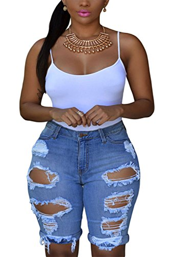 l Denim Destroyed Bermuda Shorts Jeans Medium Blue ()
