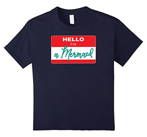 Kids Funny Hello I'm a Mermaid sticker T shirt 12 Navy - Funny Beach Themed Costumes