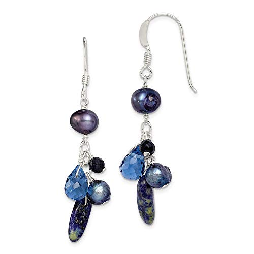 925 Sterling Silver Blue Sandstone/dark Freshwater Cultured Pearl Drop Dangle Chandelier Earrings Fine Jewelry Gifts For Women For Her