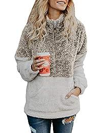 Women Long Sleeve Zipper Sherpa Sweatshirt Soft Fleece Pullover Outwear Coat ba9814ecfa