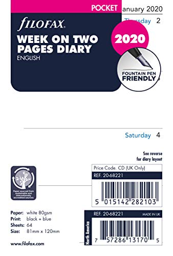 Filofax Pocket Week on Two Pages English 2020 Diary